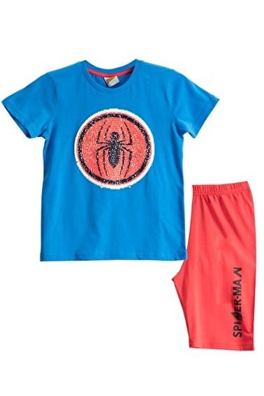 Spider-Man Spiderman Lisanslı Mavi Erkek Çocuk Bermuda Takımı Mavi